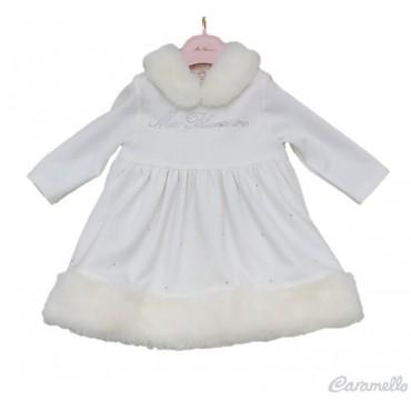 Vestito neonata con pellicciotto e strass MISS BLUMARINE art. MBL1667
