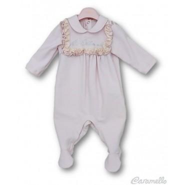 Tutina neonata con voulant e logo in strass MISS BLUMARINE art. MBL1837