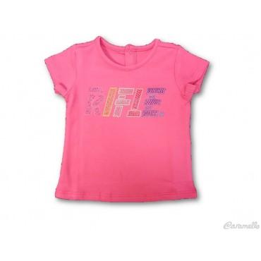 T-shirt con logo e strass...