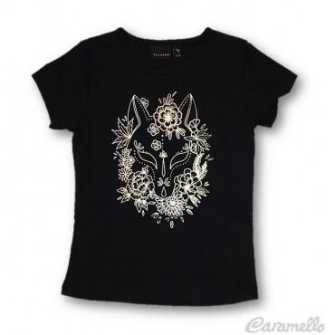 T-shirt con stampa lucida e...