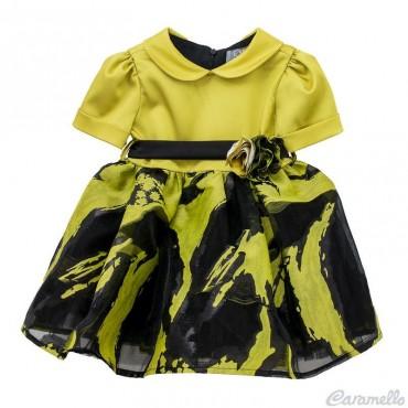 Vestito neonata con balza a fantasia EMC art. AA4464