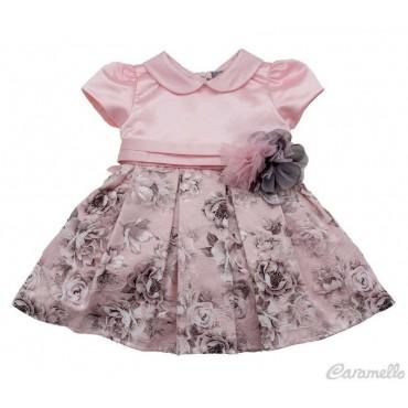 Vestito neonata con balza a...