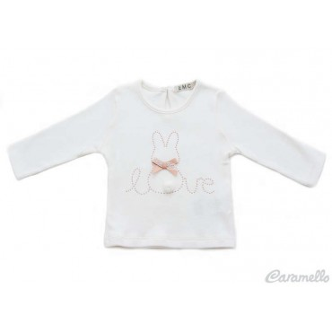 T-shirt neonata con fiocco...