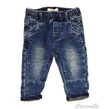 Pantalone effetto denim con...