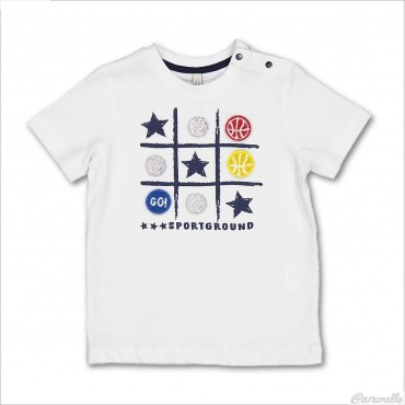 T-shirt con stampa tris...